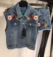 2018 женский летний комплект, джинсовый пиджак, куртка и шорты, комплект из 2 предметов, Восхитительная вышивка, цветок, conjunto feminino, Повседневна