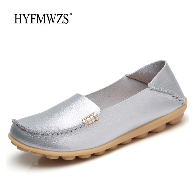 HYFMWZS Big Size 34-44 Women Loafers High Quality Fashion Designers 2017 Flat Shoes Women Slip-On Breathable Nurse Shoes Ballet fashion tassels ornament leopard pattern flat shoes loafers shoes black leopard pair size 38