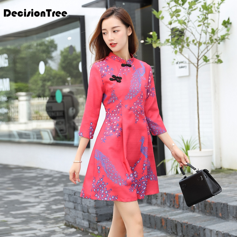 2016 cheongsam lino de invierno señoras qipao vestido barato chino - Ropa nacional