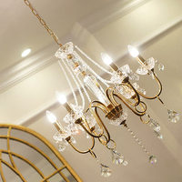 shopcase gold rustic Long vintage chandelier Crystal lighting retro Antique dining room Chandeliers for castle led Candelabro