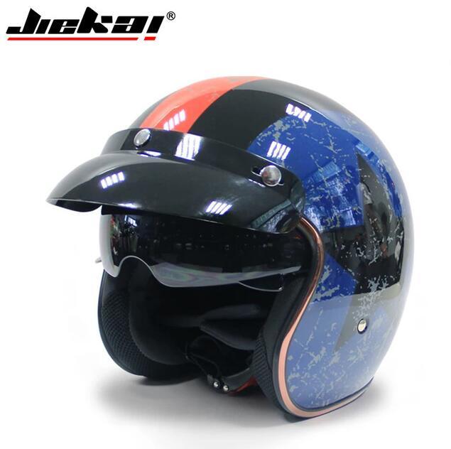 Мотоцикл Jiekai шлем 3/4 с открытым лицом Винтаж Casco мото гидроцикл велосипедный шлем Ретро точка одобренный шлем мотоциклами