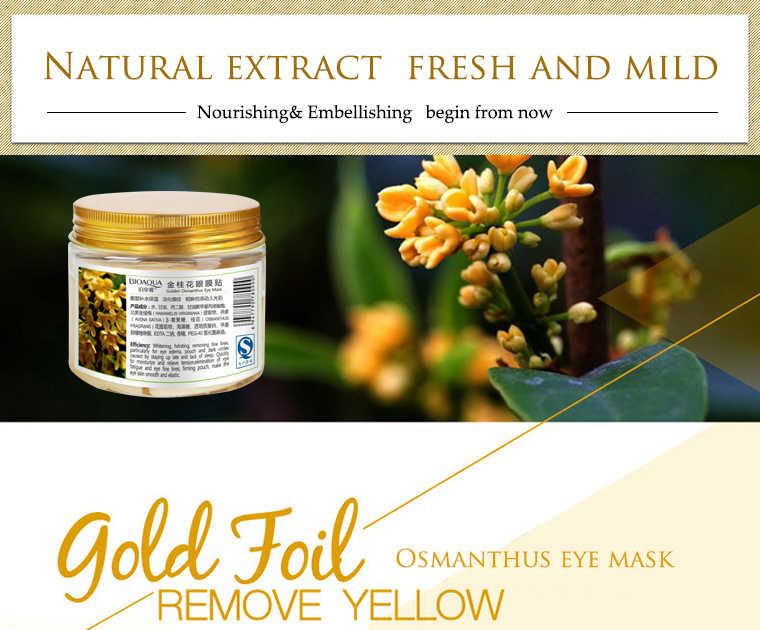 BIOAQUA 80 adet altın Osmanthus göz yamalar kollajen jel proteini cilt bakımı sökücü koyu halkalar göz torbası göz maskesi kaldırma sıkılaştırıcı