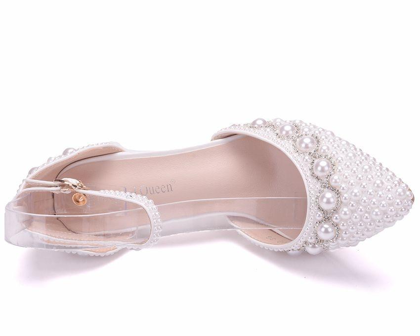 9307fc35a Crystal Queen Women Summer White Pearl Diamond Wedding Shoes High ...