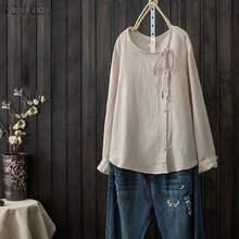 Vintage Baumwolle Leinen Bluse ZANZEA Frauen Langarm Tasten Unten Shirts Casual Solide Blusas Cehmise Plus Größe Tunika Tops 5XL