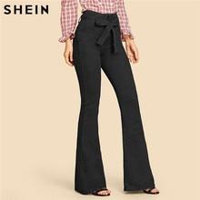 SHEIN Navy High Waist Vintage Long Flare Leg Belted Jeans Women Tie Waist Zipper Fly Retro Stretchy Black Denim Pants 4 Colors