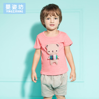 Free Shipping Hot Sale New 2016 Summer Clothing Sets Kids Pants Top Boys Girls Teddy Bear