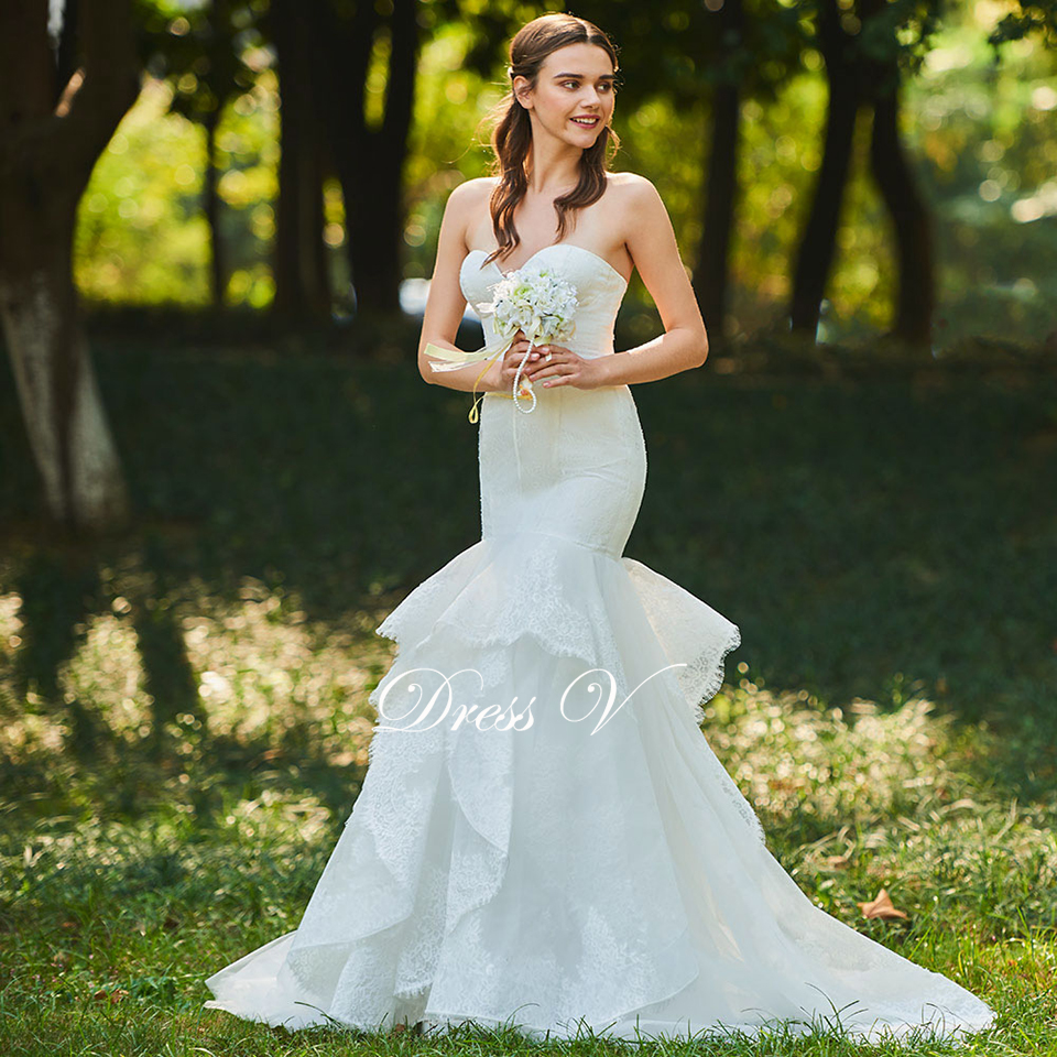 Dressv ivory wedding dress sweetheart mermaid bridal zipper up ...