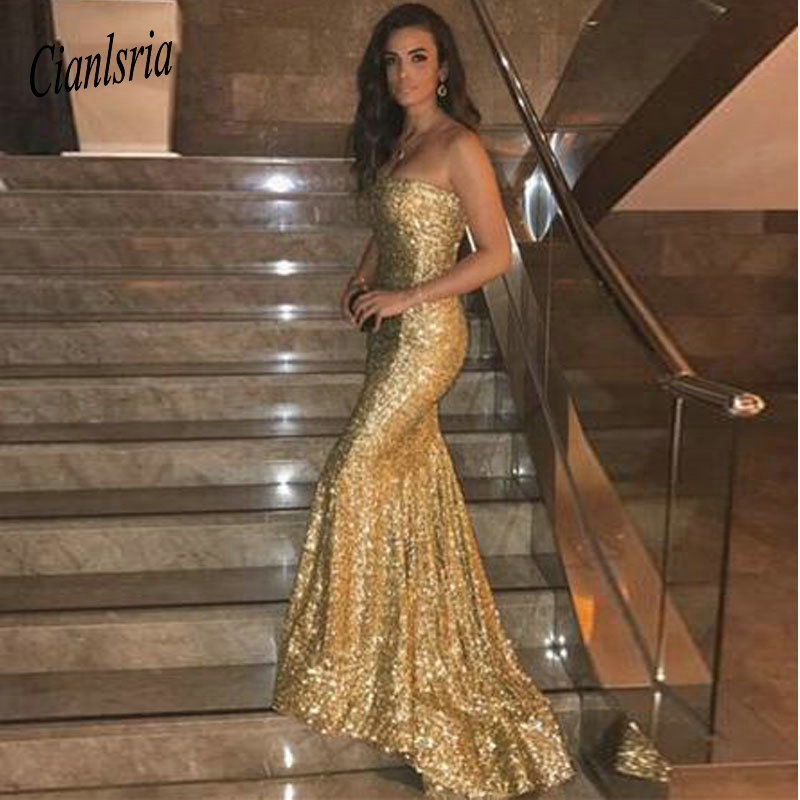 2019 New Arrival Strapless Sequin Prom Dress Mermaid Gold Evening Dresses Custom Made