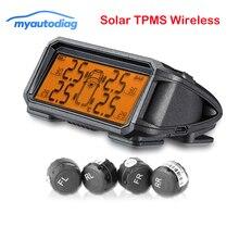 Беспроводная система контроля давления в шинах TPMS на солнечной батарее сигнализация в реальном времени 3,5 дюймов внешние/внутренние датчики солнечные шины Guage Monitor