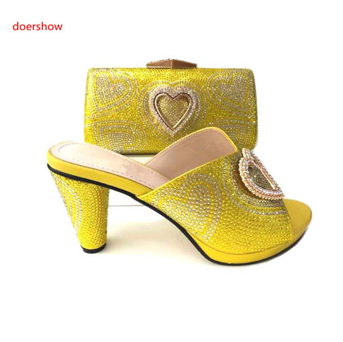doershow 2018 new latest yellow Italian Ladies Shoes And Bags To Match Set New Summer African Slipper Shoes And Bag Set G5-3 doershow new arrival shoes and bag to match italian summer african style shoes and bag set italy ladies shoes and bag as1 33
