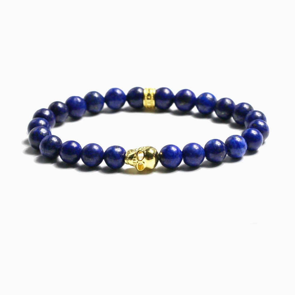 Natural-Stone-Lapis-Lazuli-Round-Loose-Beads-Strand-8MM-Ts-Skull-18k-Gold-Plated-Uir-Homme