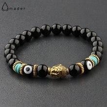 Женский браслет «Будда и дурной глаз» 8 мм эластичный Круглый