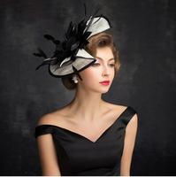 Vintage Black Wedding Bridal Hats for Women Feathers Fascinators With Hairpin Wedding Hats 2018 Women Party Hair Accessories