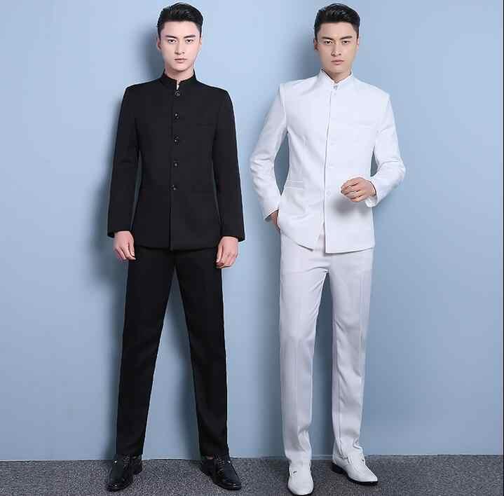 新しいスリム男性のスーツシングルサテン中国チュニックスーツメンズスタンド襟terno masculinoスリムメンズ新郎ウェディングスーツ男性黒