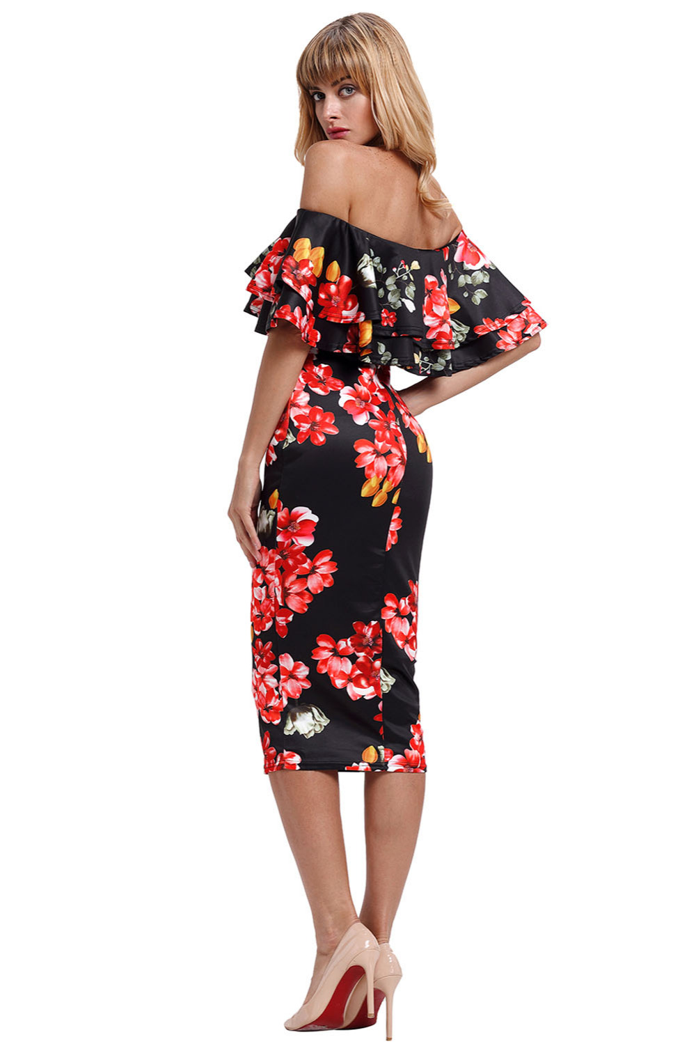 2d8dd9903b18 Woman clothes Bodycon Spring Office Ladies Dresses Casual Vestidos Black  Red Floral Layered Ruffle Off Shoulder Midi Dress 61611-in Dresses from  Women s ...