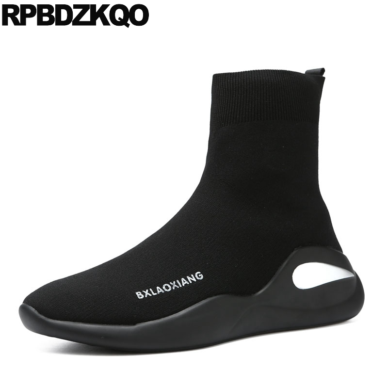 цены Sneakers Booties High Sole Thick Soled Trainer Ankle 2018 Runway Top Black Sock Boots Men Slip On Casual Shoes Stylish Platform
