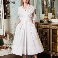 BOCHONI 2018 новый простой темперамент белая футболка с длинными рукавами платье тонкий длинное платье Пользовательские праздничное платье
