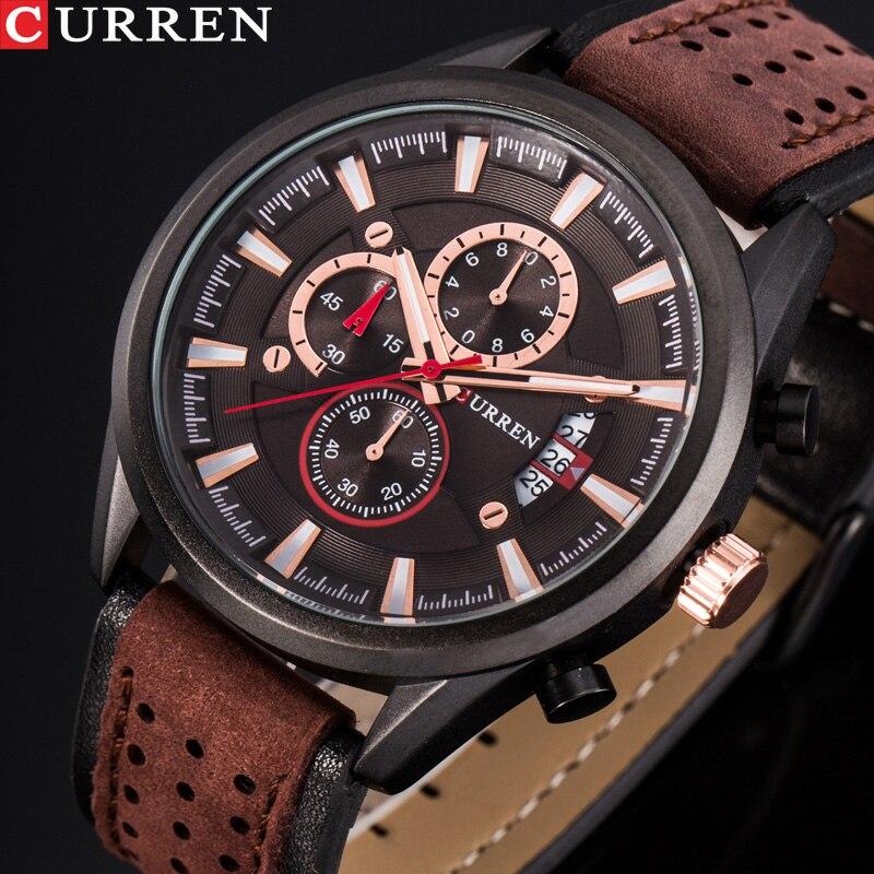 CURREN Brand Luxury Casual Military Quartz Sports Wristwatch Genuine Leather Strap Male Clock Chronograph Date Men Watches