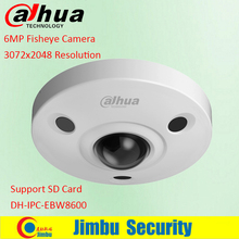 New Dahua IPC-EBW8600 6MP 3072X2048 Resolution PoE WDR Panorama 360 Degree Fisheye Dome e-PTZ Network IP Camera support SD card