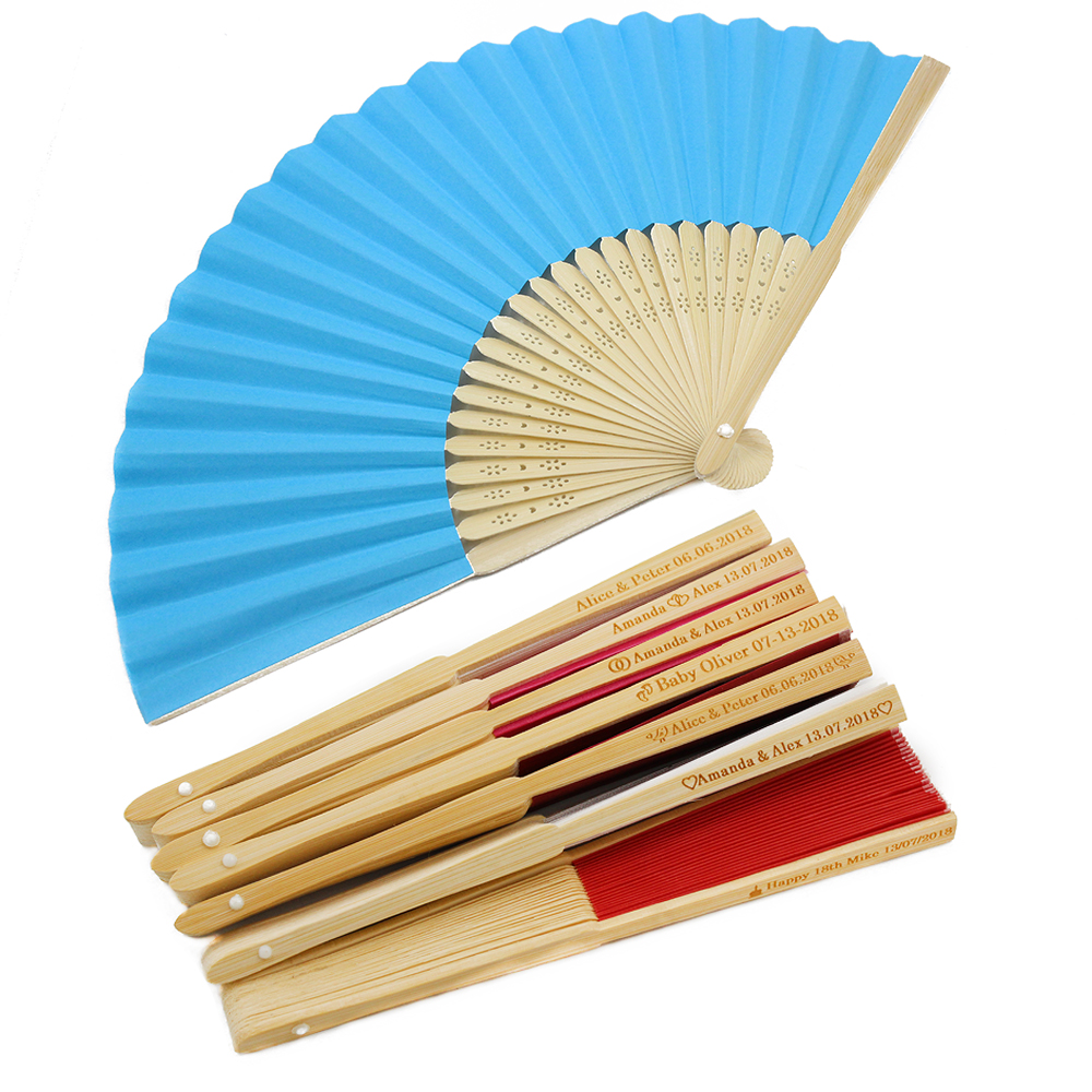 60Pcs Personalised Engraved Folding Hand Paper Fan Fold Vintage Fans outdoor Wedding Party Baby Shower First