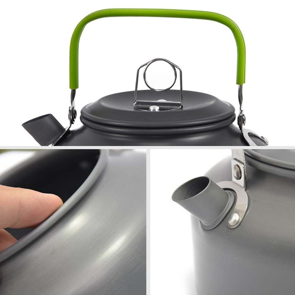 Image 5 - 0.8L Camping Hiking Picnic Teapot Pot Outdoor Portable Cookware Mess Kit Carabiner Camping Cookware Stove Pot-in Outdoor Tablewares from Sports & Entertainment