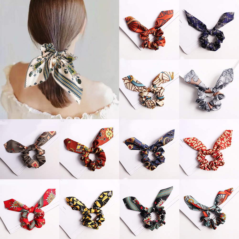 Leopard Girls Bunny Ears Chiffon Scrunchie Elastic Hair Band Bow Hair Ropes Ladies Head Band Girls Hair Ties Hair Accessories