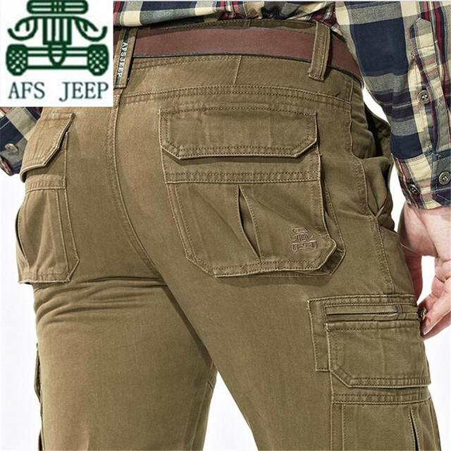 AFS JEEP Khaki/Preto/Verde Do Exército dos homens Muitos Bolsos Soltos Pant, Lazer do Homem de Carga Da Motocicleta calças, Calças De Trabalho do Trabalhador