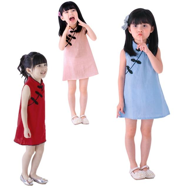 f3f1b3798 الصيف طفلة فساتين الكلاسيكية الصينية نمط أكمام الطفل الفتيات شيونغسام  فساتين القطن الكتان خمر الأطفال الملابس