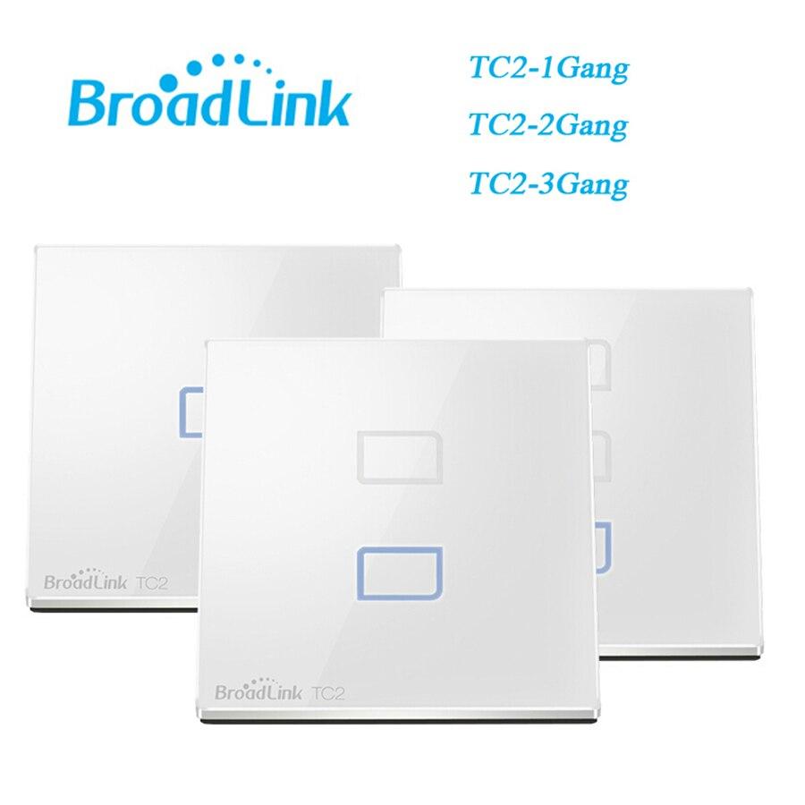नवीनतम ब्रॉडलिंक Rm प्रो + यूनिवर्सल रिमोट कंट्रोल IR RF 433mhz TC2 EU प्रकाश स्विच 3 जी 4G टच पैनल होम ऑटोमेशन के लिए स्विच