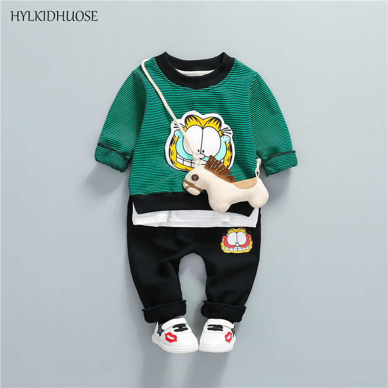 Kleidung Sets Hylkidhuose 2019 Frühling Baby Mädchen Jungen Kleidung Sets Kleinkind Infant Kleidung Anzüge Cartoon Mäntel T Hemd Hosen Kinder Kostüm