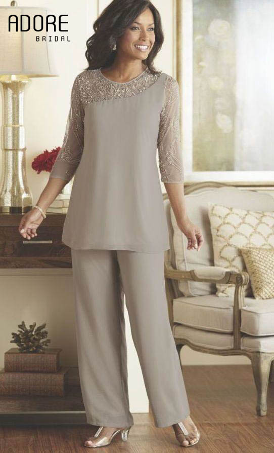 Beaded Gray Mother Bride Pant Suits Dresses 2017 Chiffon
