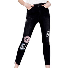 2017 summer pants women casual patch jeans woman denim womens clothing high waist jeans black trousers