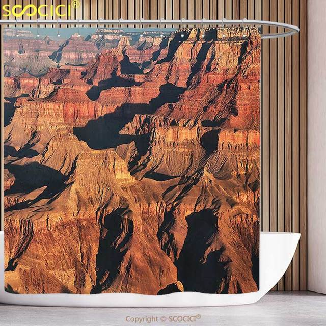 23eeb29f4a7 Waterproof Shower Curtain House Decor View of Famous Majestic Grand Canyon Red  Rocks with Different Cliff Base Elevations Brown