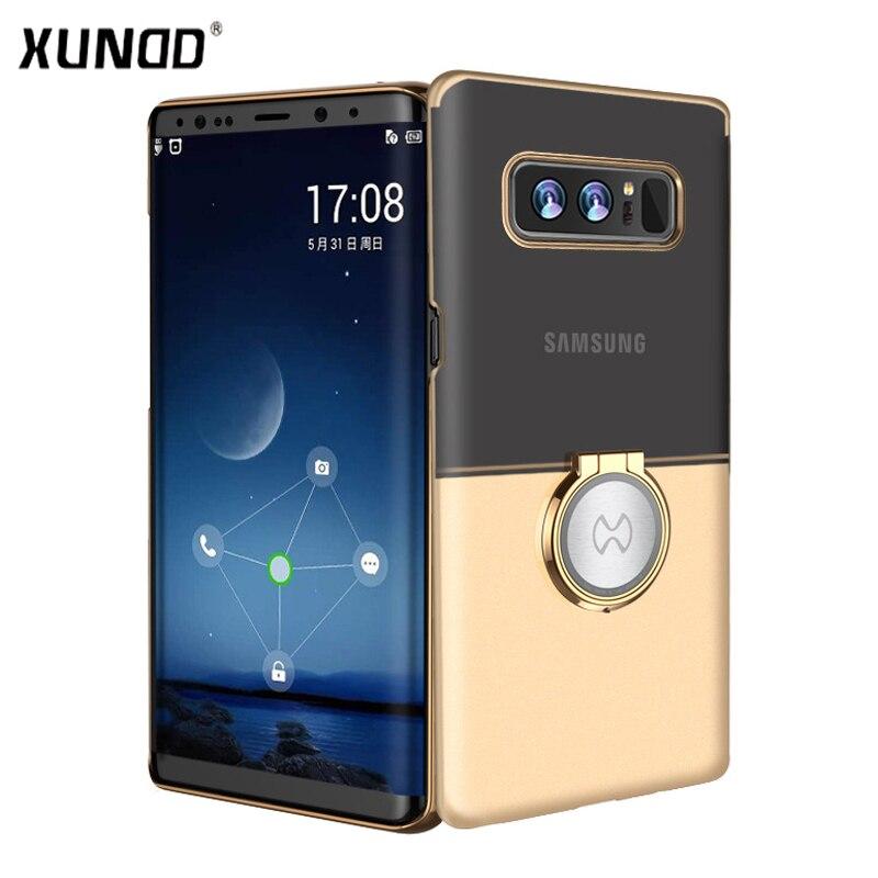 Luxus Marke Xundd Magnetische auto telefon halter fall für samsung galaxy Note 8 Harte PC Matte zurück abdeckung für Hinweis 8 mit ring halter