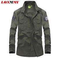 LONMMY M 3XL High Quality Shirts Mens Military Style Mens Shirts Long Sleeve Cotton Slim Camisa