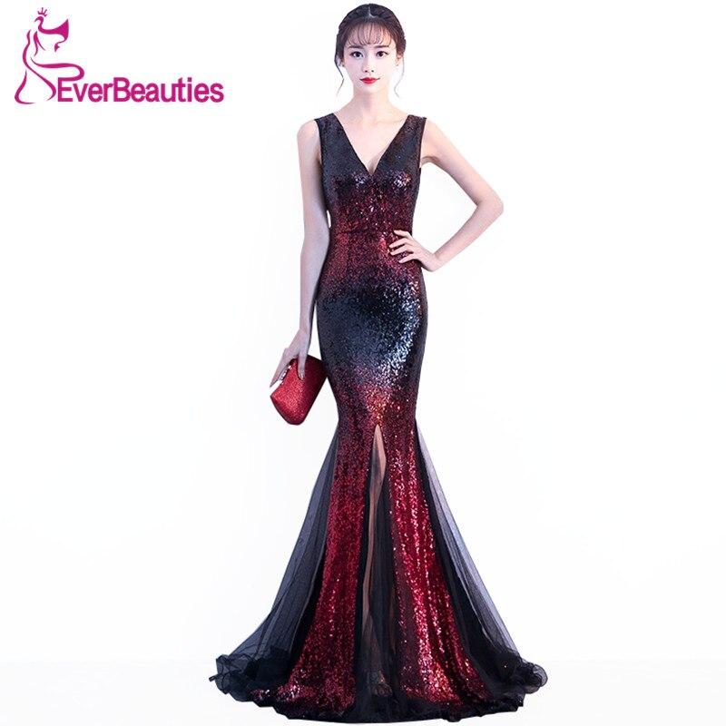 Robes De soirée sirène longues 2019 paillettes Robe De soirée Sexy col en v robes De bal Elie Saab robes Abiye