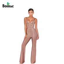 Jumpsuit Women Sexy Coffee V-Neck Sleeveless Full Length Par
