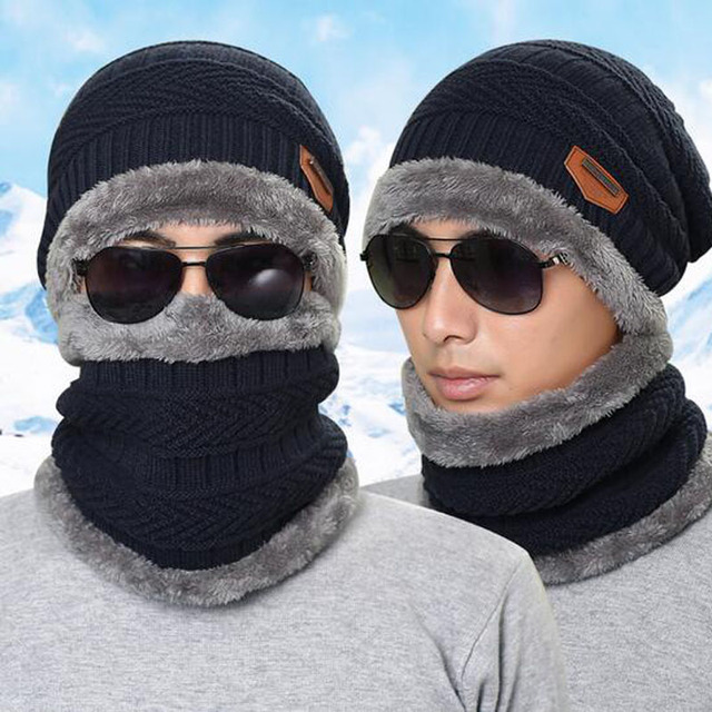 2017 Men Warm Hats Cap Scarf Winter Hat Knitting for men Caps Lady Beanie  Knitted Hats Women s hats Ring Scarf aed2862db