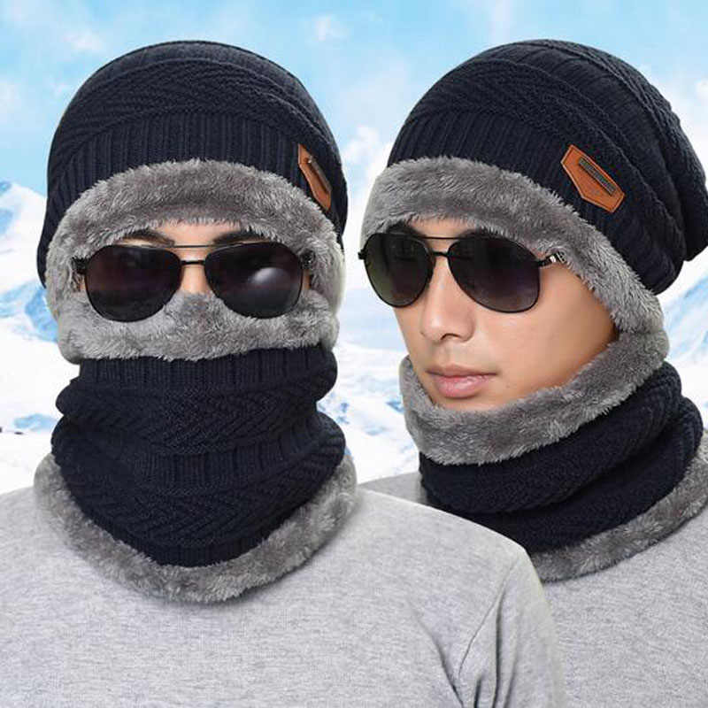 5911f62fcc6 2017 Men Warm Hats Cap Scarf Winter Hat Knitting for men Caps Lady Beanie  Knitted Hats