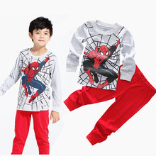 Hot Casual 2015 Full Pants +Shirts Suit Kids Clothes Pajamas Sets Boys Girls Spider-Man Super Man Set Spring Children's Pajamas