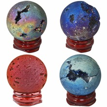 Купить с кэшбэком TUMBEELLUWA Natural Druzy Agate Geode Titanium Coated Reiki Healing Crystal Quartz Ball Sphere Figurines with Wood Stand