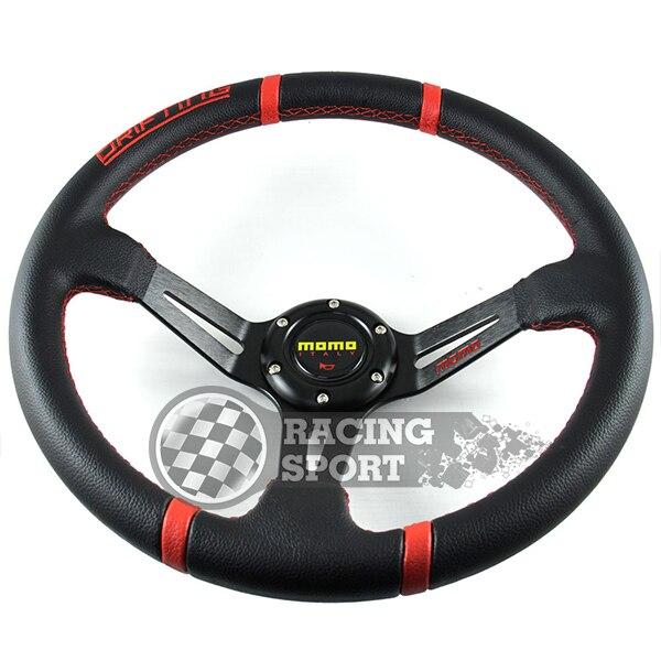Car Racing Steering Wheels! 1 PC Momo 14 inch PVC Red Drifting Steering Wheel