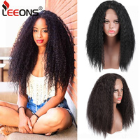 Leeons New Product Female Curly Kanekalon Synthetic Lace Front Wig Afro Wigs For Black Women Wigs For Sale Long False Hair