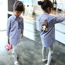 Sales promotion Pure cotton Girl blouse autumn clothes Striped Plaid shirt baby girl clothing girls long sleeves