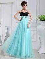 Gratis verzending 2017 aqua bandage jurk v-hals schede kralen trouwjurk prom jurken party prom bruidsmeisjetoga