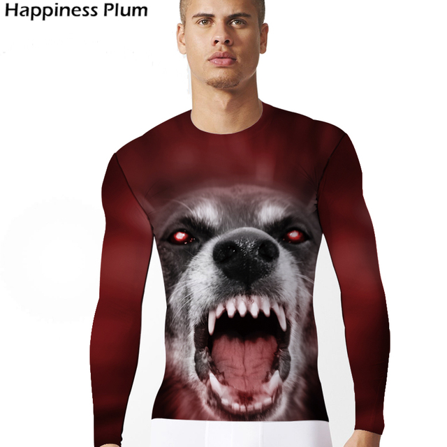 Wolf T-shirt 3d Print Tshirt Men Long Sleeve Mens Brand Clothing Red Animal Anime Hip Hop Tops Tees Cool Clothes Slim Punk Rock