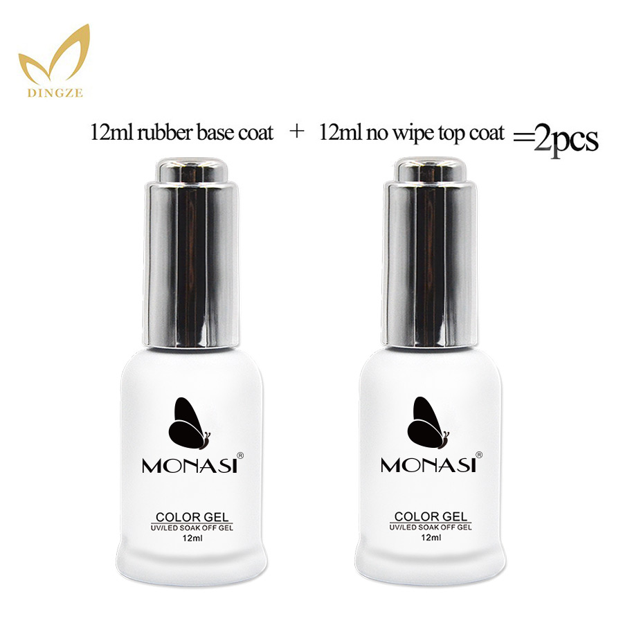 2pcs Base Coat & Top Coat Set 12ml Gel Nail Polish Soak Off Long Lasting Base And Top Gel Varnish MICHEY