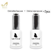 2pcs Base Coat & Top Coat Set 12ml Gel Nail Polish Soak Off Long Lasting Base and Top Gel Varnish MICHEY цена и фото