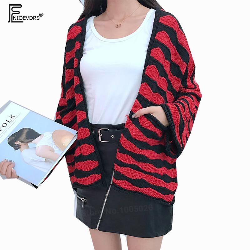 Female Cardigans Coats Women Korean Preppy Style Cute Sweet Girls Red Black Striped Open Front Cardigan Bat Sweaters 8511 cardigan