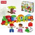 Huimei 57 unids ciudad number funtrain diy niños de bloque grande dígitos chico chica conjunto de ladrillos educativos compatibles con duplo legoe regalo